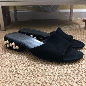 Stuart Weitzman pearl studded slides